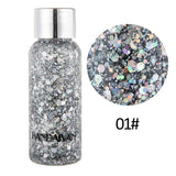CHR Popular Loose Sequins Shimmer Glitter for Body Tattoos Powder Gel Glitter Fashion Flash Heart Face Cream Makeup Festival Party Cosmetics
