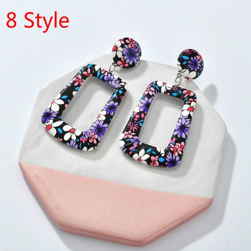 9 Color New Acetate Plate Earrings Jewelry Exaggerated Acrylic Resin Earrings Female Hoop Drop Dangle Earring Party Earring