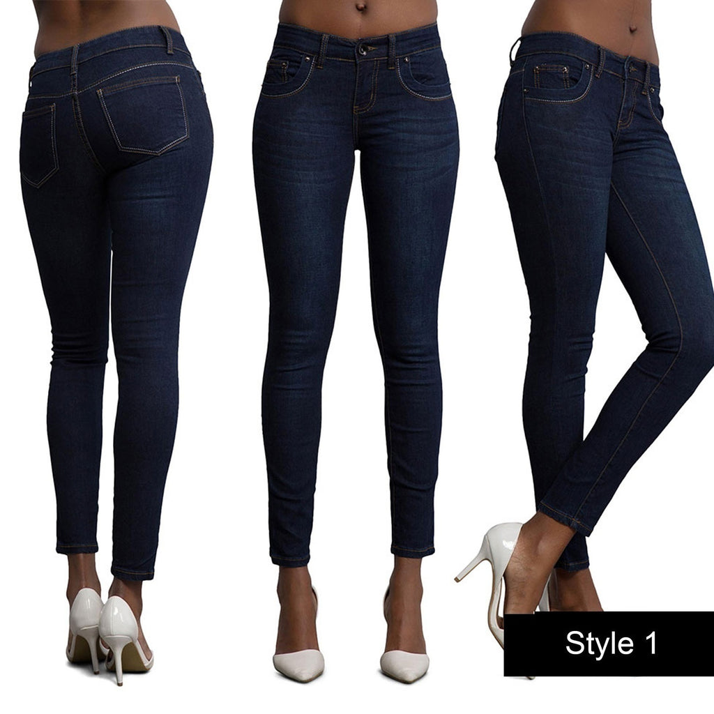 Women Fashion Denim Jeans Casual Buttlifting Tight Feet Pants Sexy Stretch Slim Long Pants Navy Blue High Waist Skinny Jeans