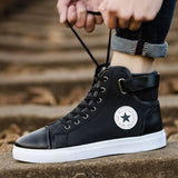 3 Colors Couple  Round Toe High Sneakers Casual Lace Up Skateboard Shoes