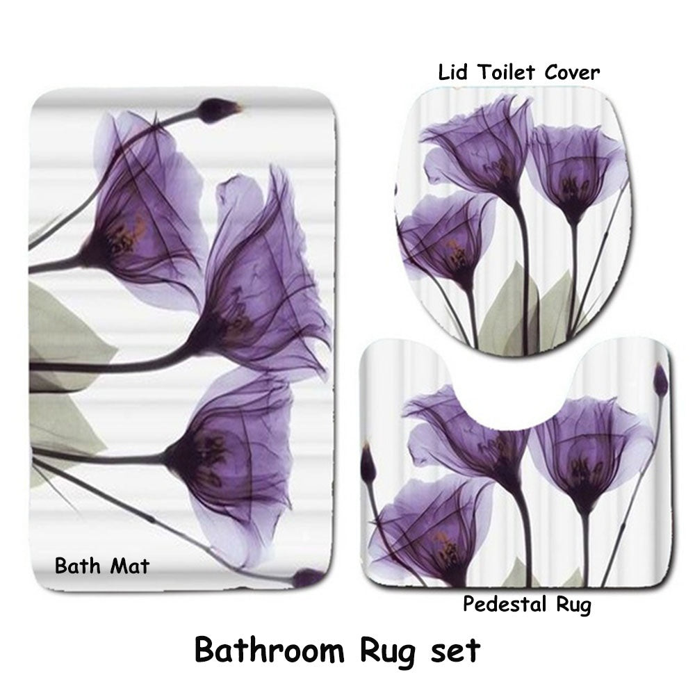 1pcs/3pcs Flower Decor Tulips Lavender Hope Shower Curtain Pedestal Rug Lid Toilet Cover & Bathroom Rug Set Waterproof Polyester Fabric Bathroom Shower Curtain