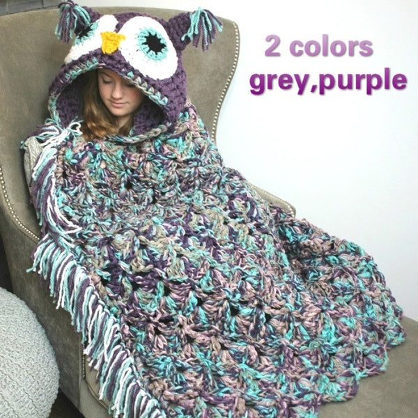 Crochet Owl Hooded Blanket (Color: Grey, Purple / Size: 92*76CM, 117*107CM)
