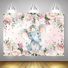 Load image into Gallery viewer, Cute Girl Elephant Baby Shower Backdrop Vinyl Elephant Photography Background Kid Bedroom Deocrtaion