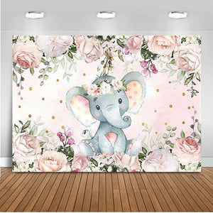 Cute Girl Elephant Baby Shower Backdrop Vinyl Elephant Photography Background Kid Bedroom Deocrtaion