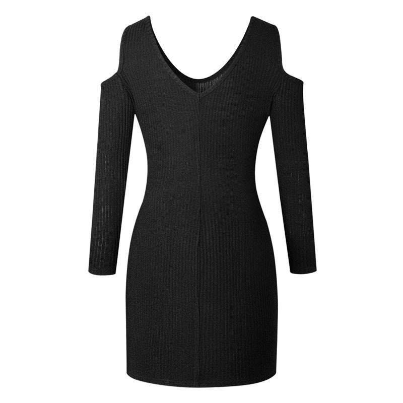 Autumn Winter Bottoming Sweater Dress knitted Long Sleeve Off Shoulder Fashion Dress Women Vestidos Pullover