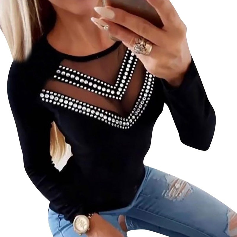 Women Casual Fashion Long Sleeves Blouses Round Neck Net Slim Fit Rhinestone Studded Tops