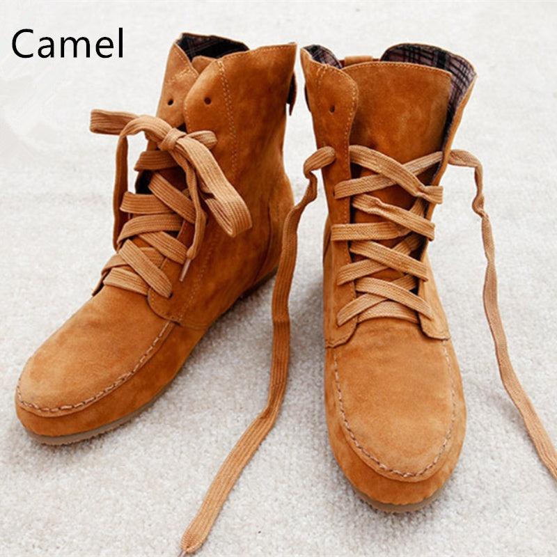 Women Spring Autumn Casaul Lace-up Flat Short Booties Shoes Faux Suede Ankle Boots Plus Size 5-11