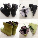Women Autumn Comfy Lace-up Flat Short Booties Shoes Casaul Faux Suede Ankle Boots Plus Size 5-11