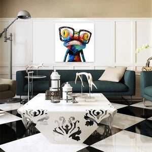 New Hot Modern Abstract Huge Wall Art  Oil Painting On Canvas Glasses Frog Not Framed Room Decor