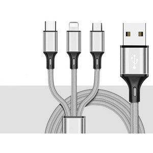 3In1 USB Charging Cable Fast Charging Cord Type C/Lightning/Micro USB IPhone/Android Cable