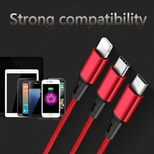 Load image into Gallery viewer, 3In1 USB Charging Cable Fast Charging Cord Type C/Lightning/Micro USB IPhone/Android Cable