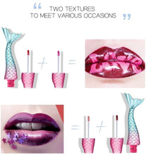 Load image into Gallery viewer, 2 Textures Mermaid Lipgloss 20 Colors silk matte long-lasting liquid lipstick metal light dreamy lip gross