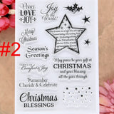 Merry Christmas Snowflake Santa Star Ball Tree Wreath Scrapbook DIY photo cards rubber stamp clear stamp transparent stamp