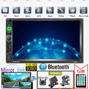 2 Din 7' HD Touch Screen Digital Display Car Multimedia Player Audio Stereo Radio Autoradio Car MP5 Player with Bluetooth USB FM Support Mirror Link Rear View Camera Connection