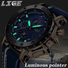 Load image into Gallery viewer, LIGE Brand Watch Men Fashion Sport Quartz Clock Leather Mens Watches Luxury Gold Waterproof Business Watch Relogio Masculino