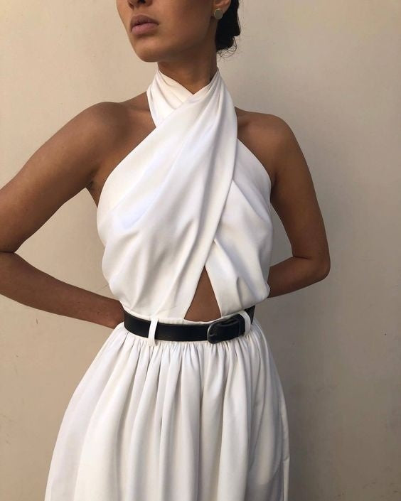 Womens Fashion White Hanging Neck Jumpsuit Open Back Wide Leg Pants