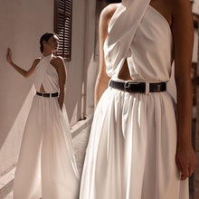Load image into Gallery viewer, Womens Fashion White Hanging Neck Jumpsuit Open Back Wide Leg Pants