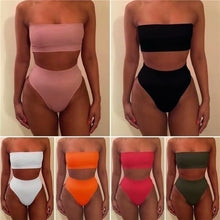 Load image into Gallery viewer, Off Shoulder Crop Top Bodycon High Waist Lingerie Set 2 Piece Outfits BG