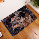 Kawaii Cartoon Floor Mats Animal Cute Cat Dog Print Bathroom Kitchen Carpet House Doormats for Living Room Anti-Slip Doormat