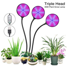 Load image into Gallery viewer, Single/Dual/Trip Head LED Grow Light-Plant Light with Lamp Holder Clip  3 Automatic Timing  30W Growing Lamps Bulbs Super Bright for Indoor Plants Growth