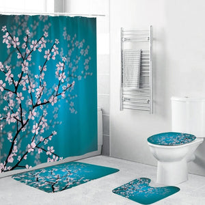 Custom Chinese Plum Blossom Art Print Waterproof Shower Curtain 3-Piece Toilet Cover Mat Floor Rugs 1pc Door Mat Home Bathroom Decoration