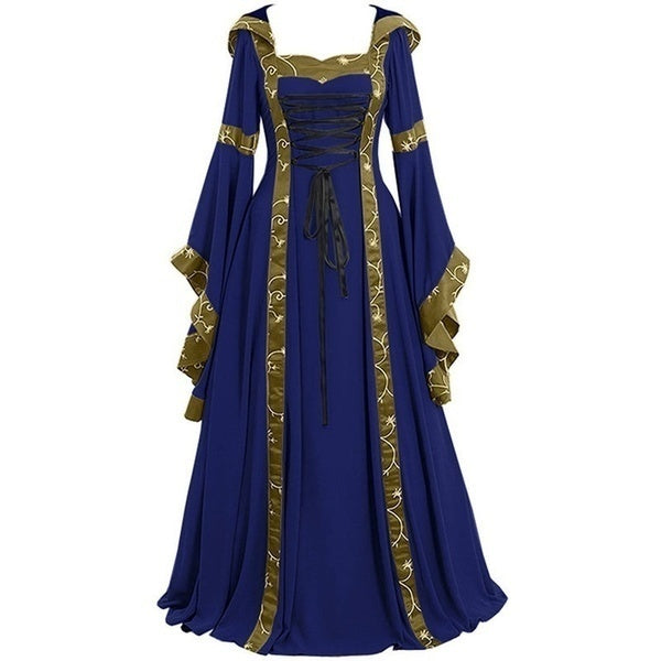 Retro Ladies Hooded Dress Long Dress Flared Sleeves and Swing Dress Women Vintage Medieval Gothic Clothing Halloween Dresses Cosplay Clothing