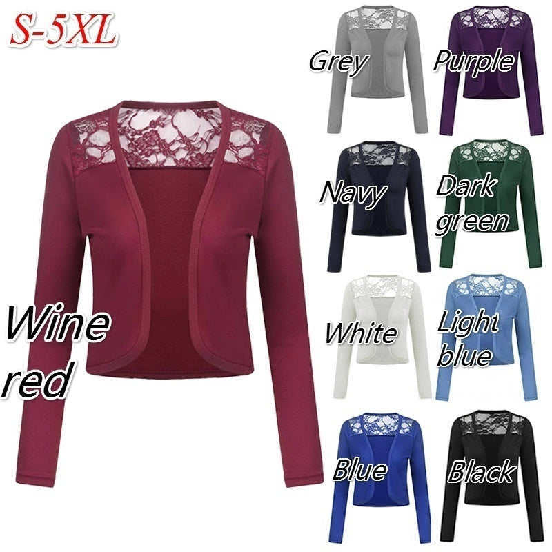 7 Colors Womens Fashion Long Sleeve Open Front Lace Bolero Shrug Plus Size Shawl Autumn Cropped Cardigan Tops