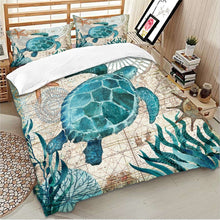 Load image into Gallery viewer, Fashion Sea Turtle  Bedding Set Super Luxury Comforter Cover Floral Cool Bedding Sets Duvet Cover with Pillowcase Beds Set
