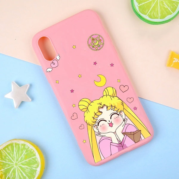 Candy Color  Sailor Moon TPU Silicone Matte Soft Back Cover Phone Caes Shockproof Cover For iPhone Xs/ XR/ Xs Max/ X 8 7 6 6s Plus/ 5 5S SE  Huawei mate10 mate 20 huawei P10 huawei 20 huawei 30  Samsung s6 s7 s8 s9 s10 Xiaomi Oneplus