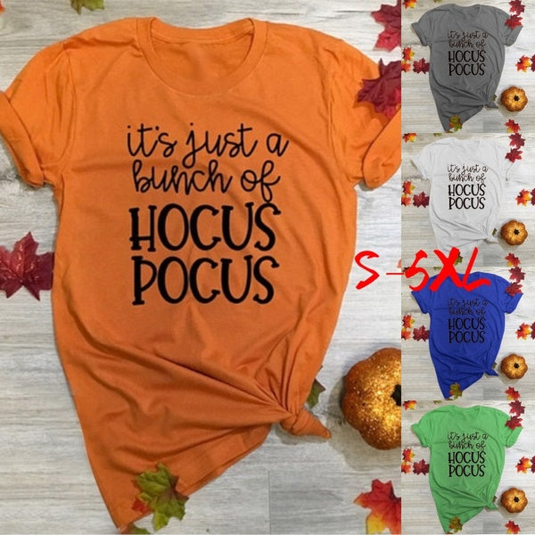 It's Just a Bunch of Hocus Pocus Shirt Cute Halloween T-Shirt Hocus Pocus Ladies Graphic Tee