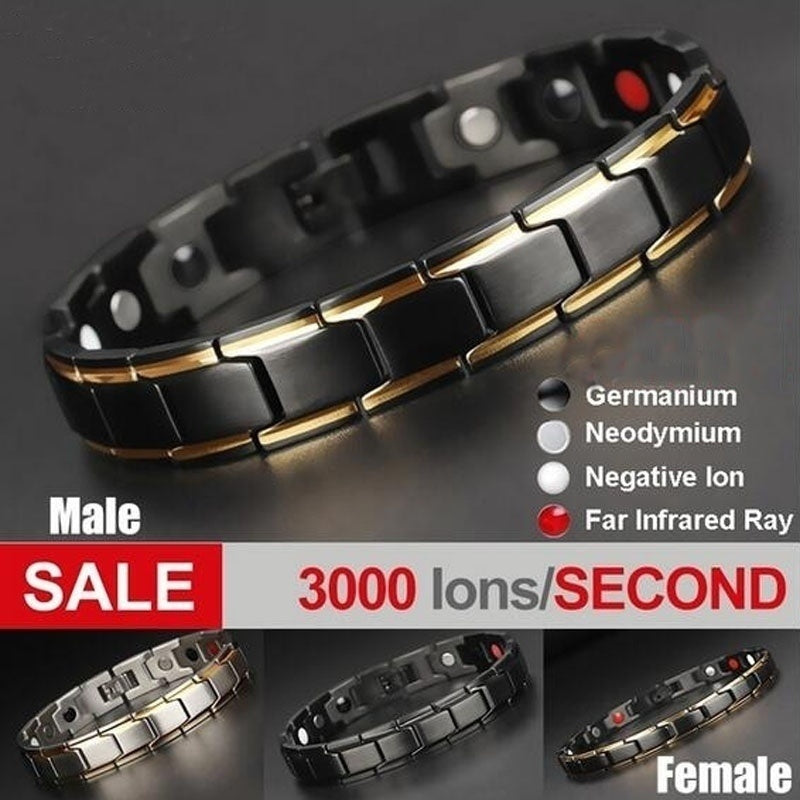 1Pcs Luxury Fashion Health Energy Bracelet Bracelet Men's 316L Stainless Steel Bio Magnetic Bracelet Black Gold Plated Jewelry