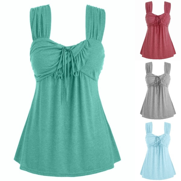 Plus Size New Women Fashion Summer Tie Marled Ruffle Tank Top Hot Sale Solid Color Sleeveless Shirt Casual Loose Fitted Blouse Sexy Brief Lace-up Shirt Cool T-shirts Cute Tee