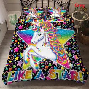 Fashion Rainbow Unicorn 8 style Unicorn pattern Bedding Set Digital Print  Duvet cover Pillowcase 2/3 pcs Bed Set  Single/US Twin/US Full/US Queen/UK King
