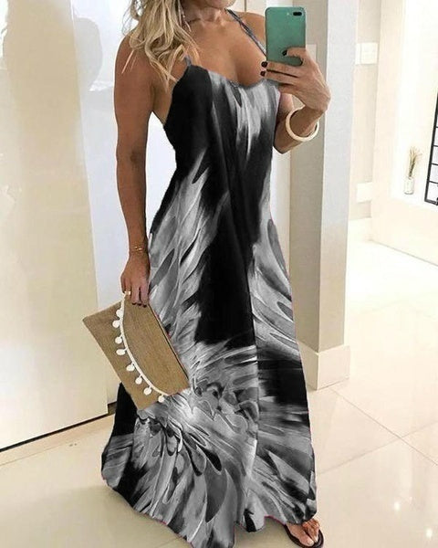 New Casual Women's Plus Size Fashion Spaghetti Strap Colorful Dress Sleeveless Dress Maxi Dress Party Dress Clubwear