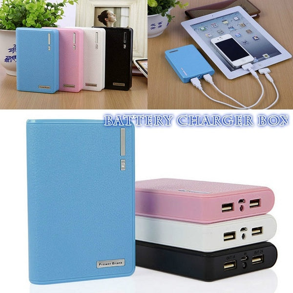 Dual USB Power Bank 4x 18650 External Backup Battery Charger Box Case For Phone TVN