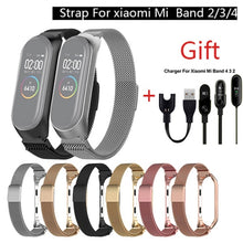 Load image into Gallery viewer, Metal Magnetic Stainless Steel Loop Watch Band Strap + charger  For Xiaomi Mi Band 4/3/2 Strap Wrist Band Belt For Strap .