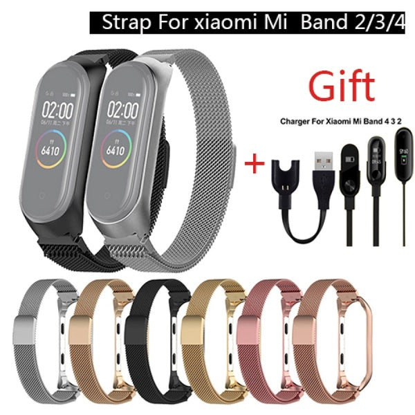 Metal Magnetic Stainless Steel Loop Watch Band Strap + charger  For Xiaomi Mi Band 4/3/2 Strap Wrist Band Belt For Strap .