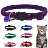 Pet Cat Collar With Bell Fashion Adjustable Safety Casual Sequin Puppy Collar Neck Strap Pet Supplies