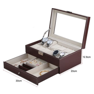 10/12 Grids Watch Case Jewelry Display Box Organizer Dual Layer Glass Top Holder EIT