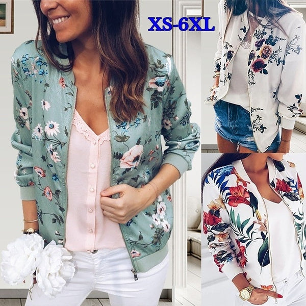 Plus Size Casual Autumn Long Sleeve Women Floral Jacket Leaf Printed Outwear Zipper Up Short Bomber Pocket Jacket Coat S-6XL