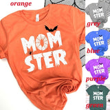 Women's Fashion Short Sleeve Round Neck Momster Letters Print Halloween Fall T-Shirt