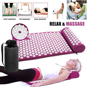 Massage Mat Acupressure Mat 67cm*42cm Yoga Lotus Spike Acupuncture Mat Relieve Back Body Pain Spike Acupuncture Yoga Mat