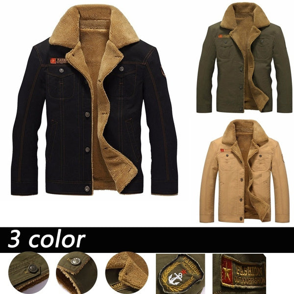 Winter Bomber Air Force Pilot Warm Male Fur Collar Army Jacket Tactical Mens Aircraft Jacket Plus Size