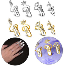 Load image into Gallery viewer, 1pc Punk Women's Fashion Jewelry Crystal Rhinestone Flower Dragonfly Finger Tip Nail Cover Ring Nail Art Decoration Punk Ring