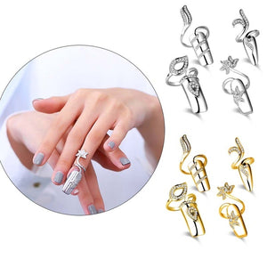 1pc Punk Women's Fashion Jewelry Crystal Rhinestone Flower Dragonfly Finger Tip Nail Cover Ring Nail Art Decoration Punk Ring