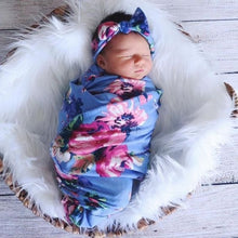 Load image into Gallery viewer, Newborn Baby Floral Swaddle Wrap Swaddling Sleeping Bag Blanket Headband Set