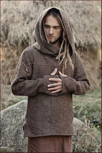 Men Autumn and Winter Warm Baja Style Hoodies Brown Cotton Blend Hippie Surf Poncho Hooded Pullover Sweater