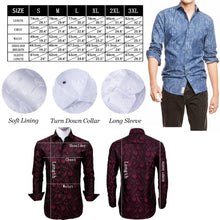 Load image into Gallery viewer, Barry.Wang Men Shirts Paisley Flower Woven Black Red Silk Dress Shirt Long Sleeve Big and Tall