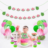 28Pcs Birthday Party Supplies Cute Watermelon Themed Dessert Table Decoration Set with Happy Birthday Banner, Cake Topper, Latex Balloons