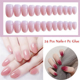 24 Pcs Beauty Natural French Style Full Cover False Nail Tips With Glue Gradient Color Nail Manicure Tool Nail Art Patch